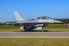 F16 fighter jet. F16 dual seat fighter jet parked on the ground Stock Images