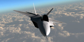 F-22 Fighter Jet. An F-22 fighter jet flies at an altitude above the cloud layer on its mission Royalty Free Stock Photos