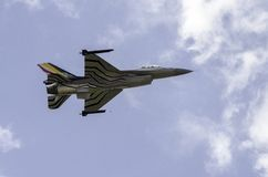 F16 fighter jet in flight  Royalty Free Stock Image