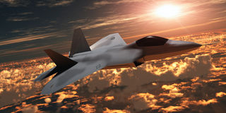 F-22 Fighter Jet at Sunset Royalty Free Stock Photos