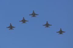 F-16 Fighting Falcon supersonic multirole fighter aircraft during Israel`s Annual Independence Day Air Force Flyover Royalty Free Stock Image