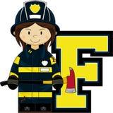F is for Fireman. Alphabet Learning Cartoon Vector Illustration Stock Photo
