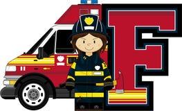 F is for Fireman. Alphabet Learning Cartoon Vector Illustration Royalty Free Stock Photos