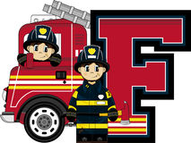F is for Fireman. Alphabet Learning Cartoon Vector Illustration Stock Photos