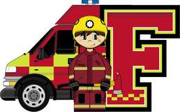 F is for Fireman. Alphabet Learning Cartoon Vector Illustration Royalty Free Stock Images