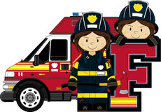 F is for Fireman. Alphabet Learning Cartoon Vector Illustration Royalty Free Stock Image