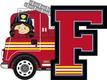 F is for Fireman. Alphabet Learning Cartoon Vector Illustration Stock Photography