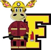 F is for Fireman. Giraffe - Alphabet Learning Cartoon Vector Illustration Royalty Free Stock Photos