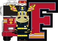 F is for Fireman. Giraffe - Alphabet Learning Cartoon Vector Illustration Royalty Free Stock Images