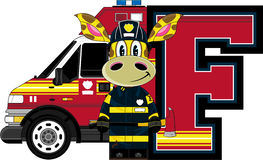 F is for Fireman. Giraffe - Alphabet Learning Cartoon Vector Illustration Stock Photography