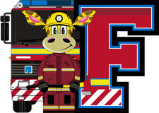 F is for Fireman. Giraffe - Alphabet Learning Cartoon Vector Illustration Royalty Free Stock Photo