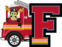 F is for Fireman. Giraffe - Alphabet Learning Cartoon Vector Illustration Stock Photos