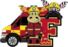 F is for Fireman. Giraffe and Zebra - Alphabet Learning Cartoon Vector Illustration Royalty Free Stock Image