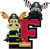 F is for Fireman. Giraffe and Zebra - Alphabet Learning Cartoon Vector Illustration Royalty Free Stock Photos
