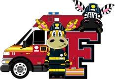 F is for Fireman. Giraffe and Zebra - Alphabet Learning Cartoon Vector Illustration Stock Photo