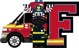 F is for Fireman. Zebra - Alphabet Learning Cartoon Vector Illustration Royalty Free Stock Image