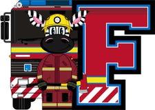 F is for Fireman. Zebra - Alphabet Learning Cartoon Vector Illustration Stock Image