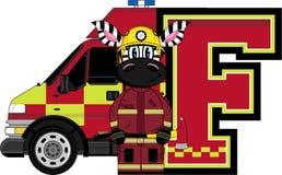 F is for Fireman. Zebra - Alphabet Learning Cartoon Vector Illustration Royalty Free Stock Photography