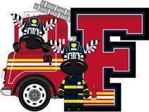 F is for Fireman. Zebra - Alphabet Learning Cartoon Vector Illustration Royalty Free Stock Photos