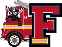 F is for Fireman. Zebra - Alphabet Learning Cartoon Vector Illustration Stock Images
