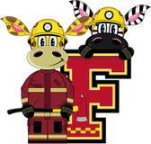 F is for Fireman. Zebra and Giraffe - Alphabet Learning Cartoon Vector Illustration Stock Image