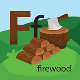 F for firewood. The letter F for firewood stock illustration
