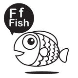 F Fish cartoon and alphabet for children to learning and colorin. G page vector illustration eps10 Stock Photos
