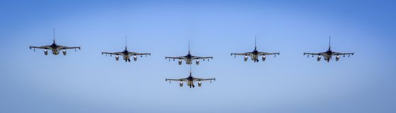 F16 formation flight past. F16 fighter jets formation flight past. Kampfjet, straaljager Stock Photography