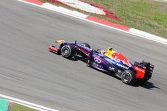 F1 foto - bil Red Bull för formel en: Mark Webber Arkivfoto