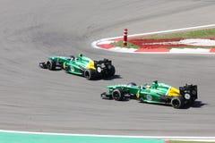 F1 fotografia: Formuły 1 Caterham samochody – Akcyjne fotografie Obraz Royalty Free