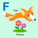 F-Fox-fiore animale della lettera di alfabeto dell'illustrazione Immagini Stock Libere da Diritti