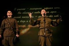 F fromportrait van een jonge Russische militair, dichter, held het spel sterker dan dood is er slechts het leven Royalty-vrije Stock Foto