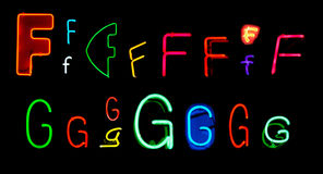 F G Neon Letters Stock Photography