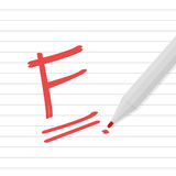 F grade on line paper with red pen Stock Photography