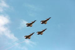 F16 Gripen and August 1st Aerobatic team pilots Royalty Free Stock Image