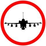 F35 het pictogramwaarschuwing van militaire vliegtuigen cirkelverkeersteken stock fotografie