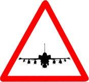 F35 het pictogramwaarschuwing van militaire vliegtuigen cirkelverkeersteken royalty-vrije stock fotografie