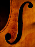 F-Hole. Of a contrabass instrument Royalty Free Stock Image