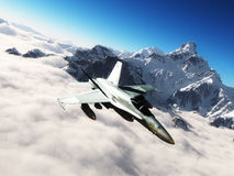 F-18 Hornet. A multi-role fighter flying above the clouds. In the background are snowy mountain peaks Royalty Free Stock Photography