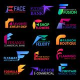 F icons corporate identity abstract shape style. Corporate identity F letter icons of cosmetology and skincare salon, commercial bank and athletic sport or gym vector illustration