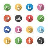 F a isolé des icônes de sport dans la conception plate avec longtemps illustration de vecteur
