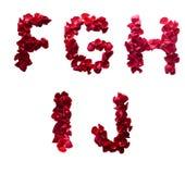F - J feito das pétalas vermelhas levantou-se Fotografia de Stock