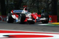 22 April 2005, San Marino Grand Prix of Formula One. Jarno Trulli drive Toyota F1 during Qualyfing session on Imola Circuit stock photos