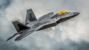 F22 jet aircraft. F22 Raptor fighter jet aircraft on a low level training mission over the U.K royalty free stock images