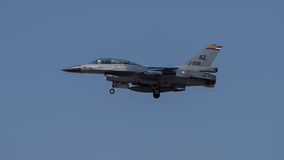 F16. Jet on landing approach to Davis Monthan Air Force Base royalty free stock photos