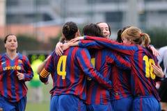 f Juego del equipo de fútbol de las mujeres de C Barcelona contra Levante Foto de archivo libre de regalías