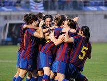 f Juego del equipo de fútbol de las mujeres de C Barcelona contra RCD Espanyol Foto de archivo