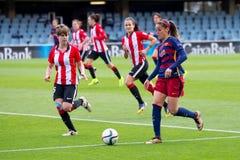 f Juego del equipo de fútbol del ` s de las mujeres de C Barcelona contra el club atlético de Bilbao Imágenes de archivo libres de regalías