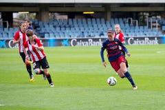 f Juego del equipo de fútbol del ` s de las mujeres de C Barcelona contra el club atlético de Bilbao Fotografía de archivo libre de regalías