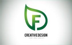 F Leaf Logo Letter Design with Green Leaf Outline Stock Photography